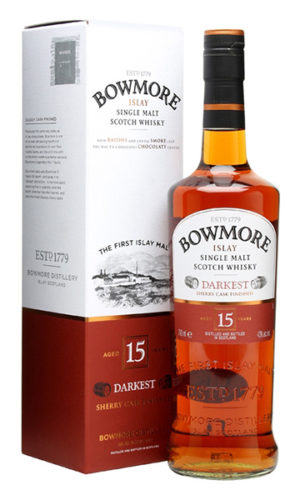 "Bowmore Islay Single Malt Scotch Whisky ""Darkest"" 15 Years Old"